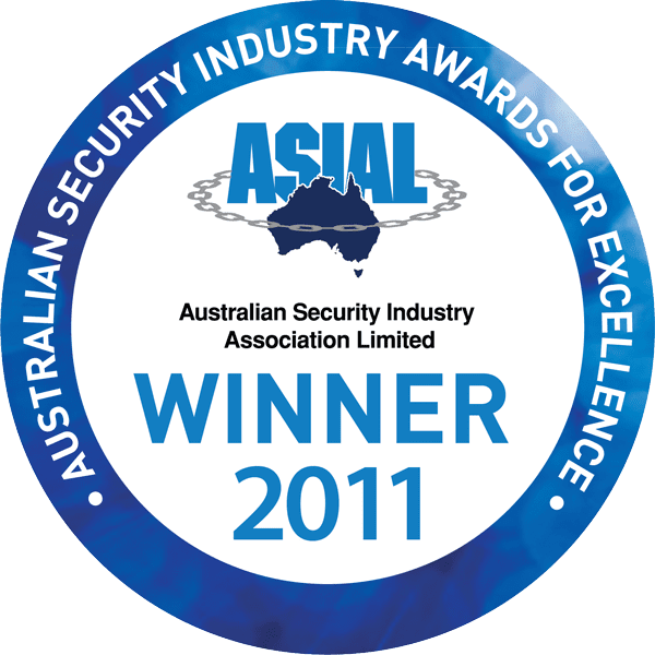 Australian Security Industry Awards Winner for excellence PACOM logo