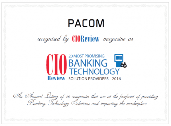 PACOM recognized as one of 20 Most Promising Banking Technology Solution Providers