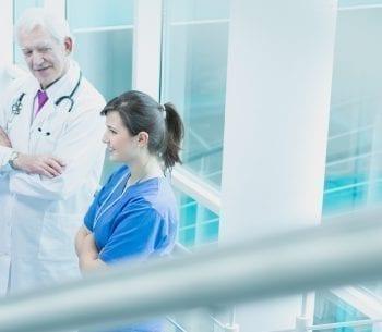 Doctors taking a break at hospital corridor