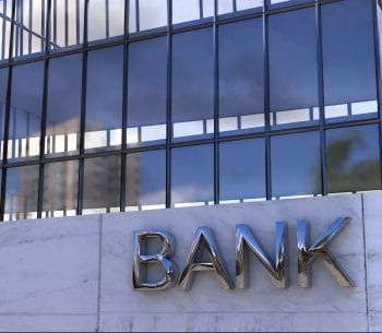 BANK writing on building
